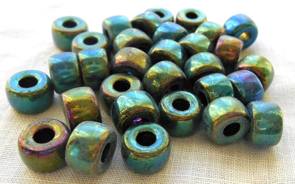 Lot of 25 9mm Czech Green Iris glass pony roller beads, large hole crow beads, C1550 - Glorious Glass Beads