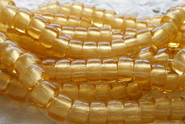 Lot of 25 9mm Czech light amber, glass pony roller beads, large hole crow beads, C7225 - Glorious Glass Beads