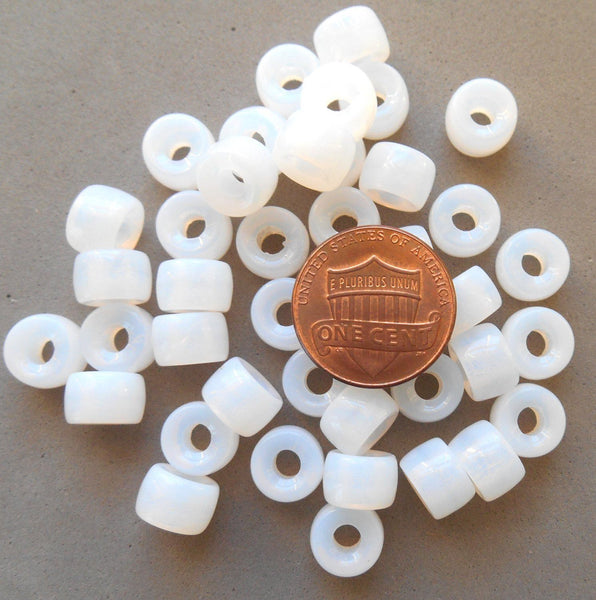Supplies - Lot Of 25 9mm Czech Milky Opaque White Glass Pony, Roller Beads, Large Hole Crow Beads C5425