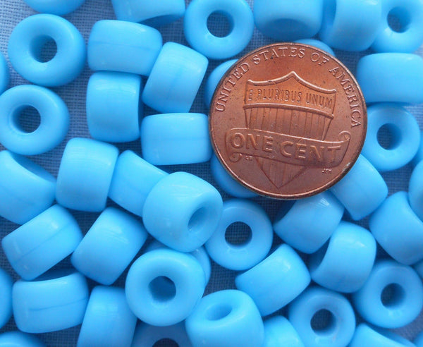 Supplies - Lot Of 25 9mm Czech Opaque Matte Turquoise Blue Pony Roller Beads, Large Hole Blue Glass Crow Beads, C3525