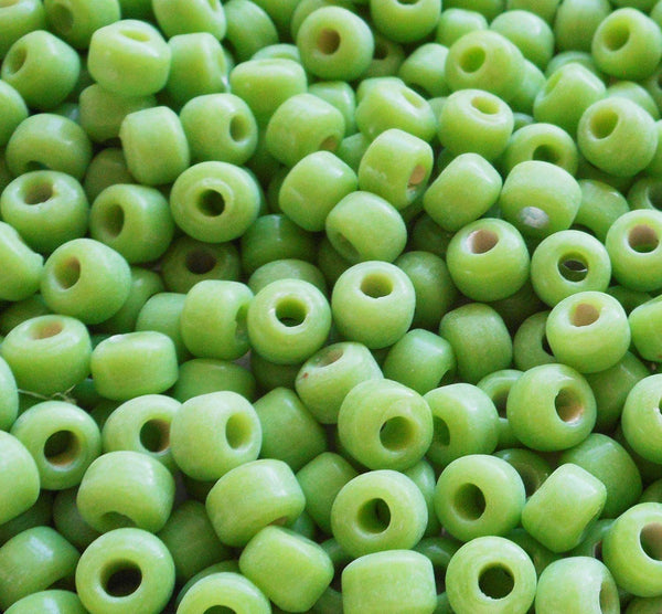 Supplies - Lot Of 25 9mm Opaque Matte Lime Green Glass Pony Roller Beads, Large Hole, Big Hole Crow Beads, Made In India, C6201