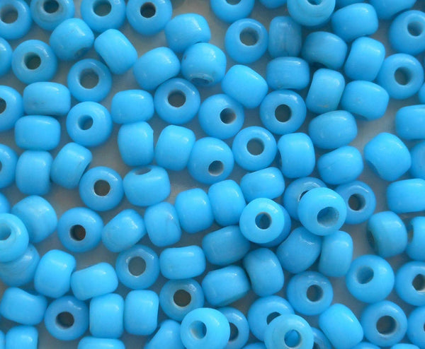 Supplies - Lot Of 25 9mm Opaque Turquoise Blue Glass Pony Roller Beads, Large Hole, Big Hole Crow Beads, Made In India, C0401