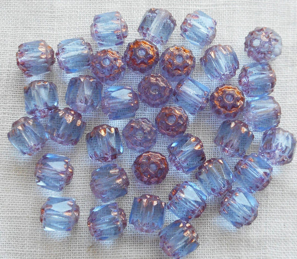 Lot of 25 Light Sapphire Blue 6mm crown picasso beads, faceted, firepolished, antique cut, Czech glass beads C1801 - Glorious Glass Beads