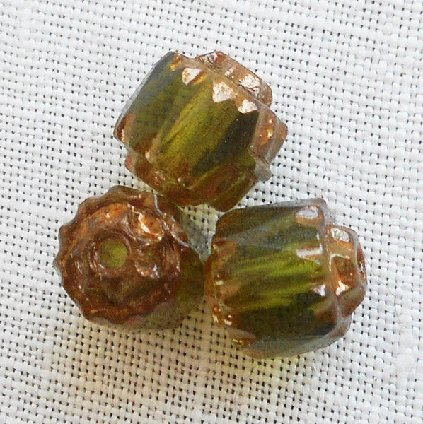 Supplies - Lot Of 25 Olivine Green 6mm Crown Picasso Beads, Faceted, Firepolished, Antique Cut, Czech Glass Beads C1801