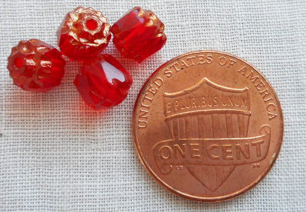 Lot of 25 Siam Red 6mm crown picasso beads, faceted, firepolished, antique cut, Czech glass beads C1801 - Glorious Glass Beads