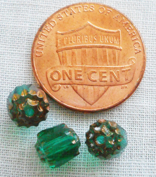 Supplies - Lot Of 25 Teal, Blue Green 6mm Crown Picasso Beads, Faceted, Firepolished, Antique Cut, Czech Glass Beads C1801