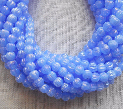 Supplies - Lot Of 50 3mm Luster Milky Sapphire Blue Czech Pressed Glass Melon Beads C4650