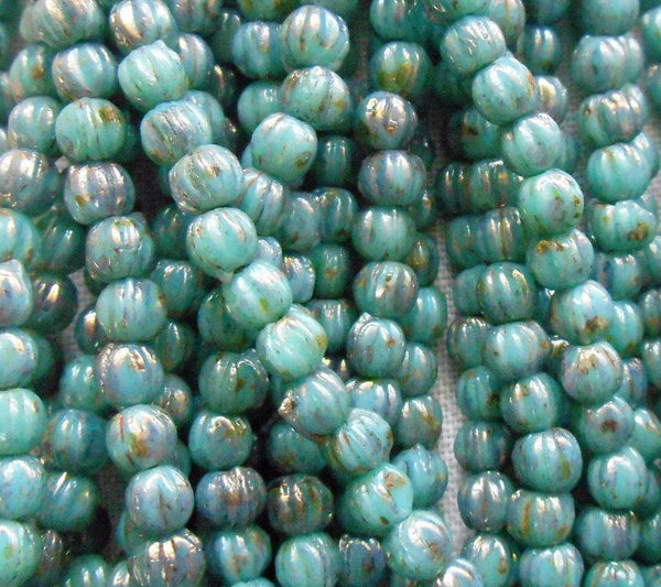 Lot of 50 3mm Opaque Turquoise Blue Bronze Picsso Czech pressed glass melon beads C1850 - Glorious Glass Beads