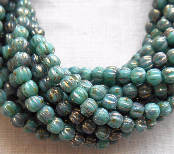 Supplies - Lot Of 50 3mm Opaque Turquoise Blue Bronze Picsso Czech Pressed Glass Melon Beads C1850