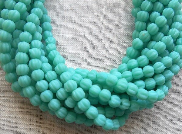 Supplies - Lot Of 50 3mm Opaque Turquoise Blue Czech Pressed Glass Melon Beads C0750