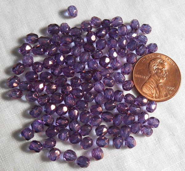 Lot of 50 4mm Lumi Amethyst beads, iridescent purple round faceted firepolished Czech glass beads, C1450 - Glorious Glass Beads