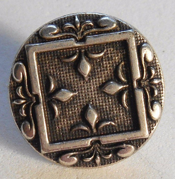Supplies - One 15mm Silver Tone Metal Alloy Decorative Button, Fleur De Lis, C0411