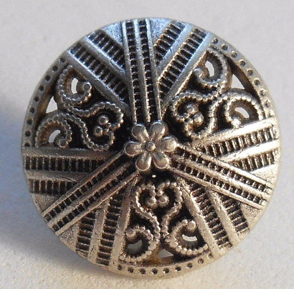 One 15mm Silver Tone Metal Alloy decorative button with openwork, C0411 - Glorious Glass Beads