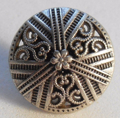 Supplies - One 15mm Silver Tone Metal Alloy Decorative Button With Openwork, C0411