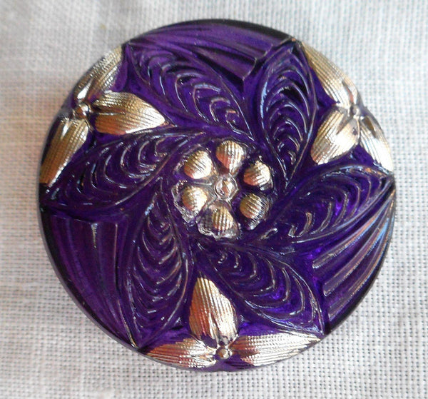 One 27mm Czech translucent glass button, purple pattern with platinum silver accents , decorative shank button C08201