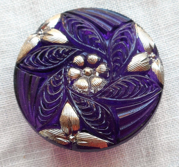 One 27mm Czech translucent glass button, purple pattern with platinum silver accents , decorative shank button C08201 - Glorious Glass Beads