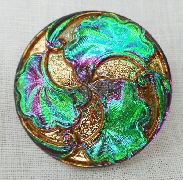 One 28mm iridescent Czech glass button, Vitral Green button with art nouveau stylized leaves , decorative shank buttons 07201 - Glorious Glass Beads