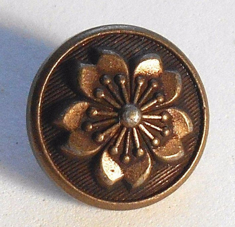 Supplies - One Antique Copper Tone Metal Alloy Decorative Button With A Floral Pattern,15mm, C04101