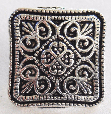 Supplies - One Antique Silver 17mm Decorative Ornate Square Shank Button, C7111