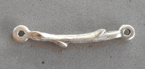 One antique silver plated pewter twig, branch, connector bar, Nunn Designs, 31 x 3mm, C0601 - Glorious Glass Beads