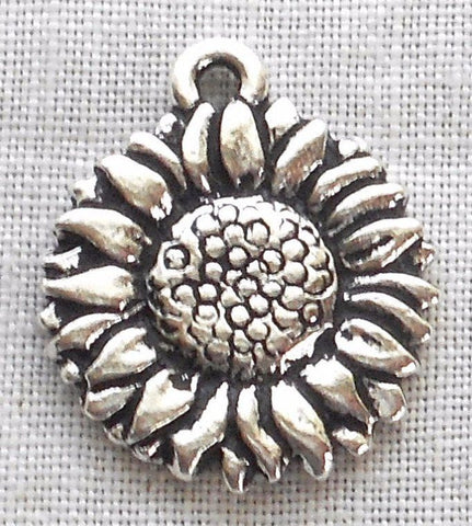 One antiqued silver plated pewter Tierracast Sunflower charm, 18mm in diameter, made in the USA, 9501 - Glorious Glass Beads