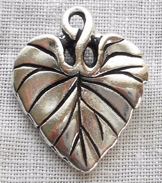 One antiqued silver plated pewter Tierracast Violet leaf charm, 18mm X 14mm, made in the USA, 7701