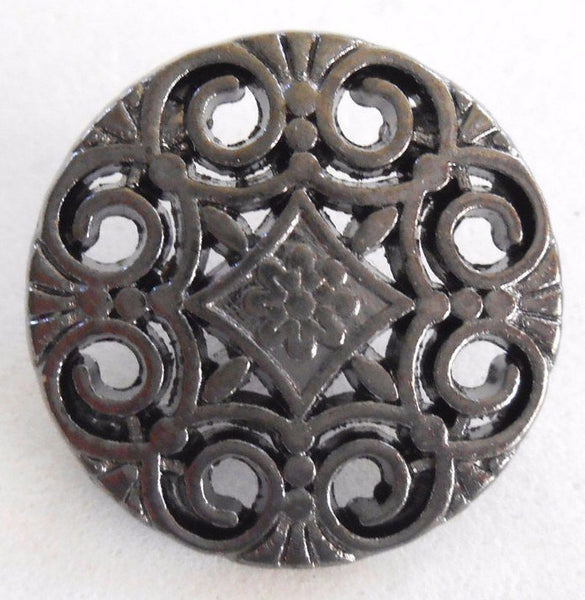 Supplies - One Gun Metal Decorative Shank Button With Openwork, 20mm, C3011