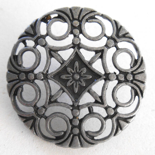 Supplies - One Gun Metal Decorative Shank Button With Openwork, 24mm, C5311