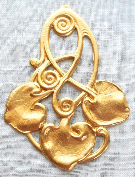 One large Art Nouveau, Victorian lily leaf pendant, raw brass stamping, 62mm x 44mm made in the USA, C6701