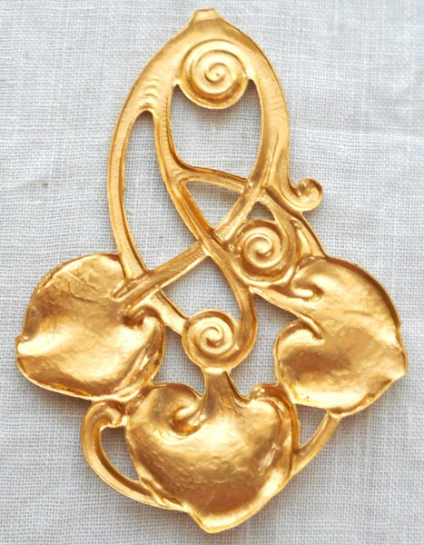Supplies - One Large Art Nouveau, Victorian Lily Leaf Pendant, Raw Brass Stamping, 62mm X 44mm Made In The USA, C6701