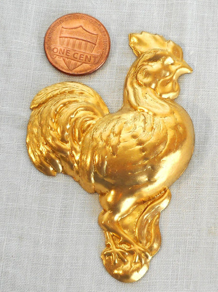 Supplies - One Large Brass Right Facing Rooster Ornament, Pendant ,charm, Brass Stamping, 72mm X 42mm, Made In The USA, C4601