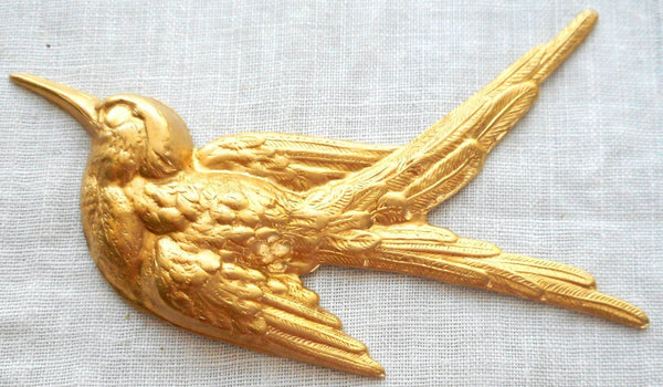 One large raw brass Flying Bird, Sparrow pendant, charm, brass stamping, 74mm x 52mm made in the USA, C2601 - Glorious Glass Beads