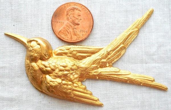 Supplies - One Large Raw Brass Flying Bird, Sparrow Pendant, Charm, Brass Stamping, 74mm X 52mm Made In The USA, C2601