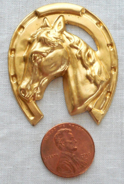 "Supplies - One Large Raw Brass Horse's Head In A Horse Shoe, Pendant, Charm, Brass Stamping, Ornament 1.625"" In By 1.625"" In. Made In The USA 4401"