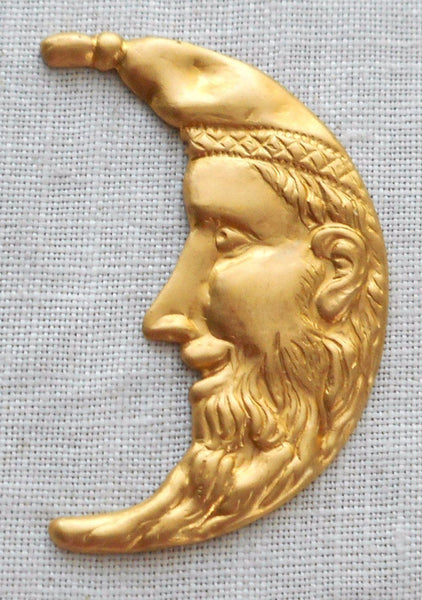 "One large raw brass Man in the Crescent Moon Face Victorian pendant, charm, brass stamping, 1.25"" in by .75"" in. made in the USA, 1201 - Glorious Glass Beads"
