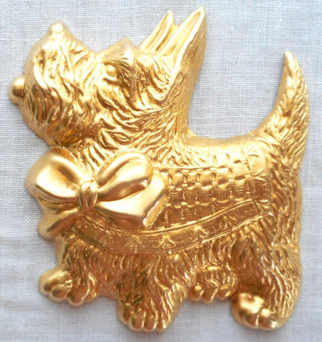 "Supplies - One Large Raw Brass Scotty Dog Pendant, Charm, Brass Stamping, 2.375"" In By 2.75"" In. Made In The USA, 70101"