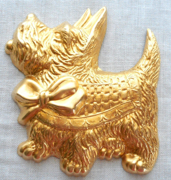 "One large raw brass Scotty Dog pendant, charm, brass stamping, 2.375"" in by 2.75"" in. made in the USA, 70101 - Glorious Glass Beads"