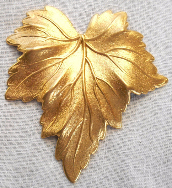 One large raw brass stamping, a Victorian leaf, pendant, charm, connector, 51mm x 48mm made in the USA, C0601