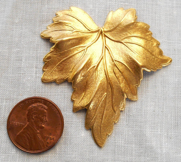 One large raw brass stamping, a Victorian leaf, pendant, charm, connector, 51mm x 48mm made in the USA, C0601 - Glorious Glass Beads