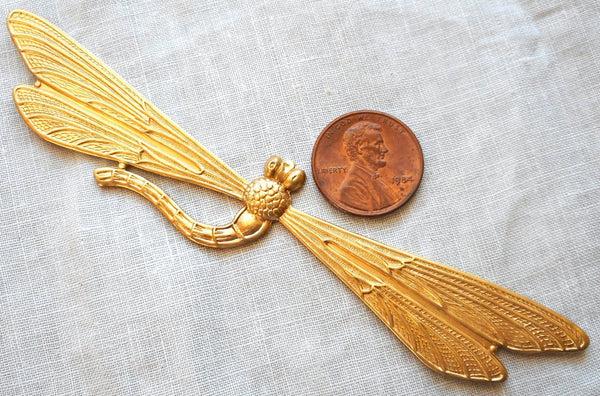 "Supplies - One Large Raw Brass Stamping Art Nouveau Deco Dragonfly, Pendant, Charm, Connector, Ornament, 3.37"" By .75"" Inches, Made In The USA C91101"