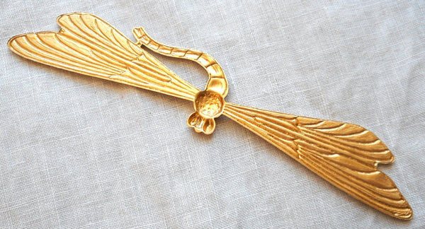 "One large raw brass stamping art nouveau deco dragonfly, pendant, charm, connector, ornament, 3.37"" by .75"" inches, made in the USA C91101 - Glorious Glass Beads"