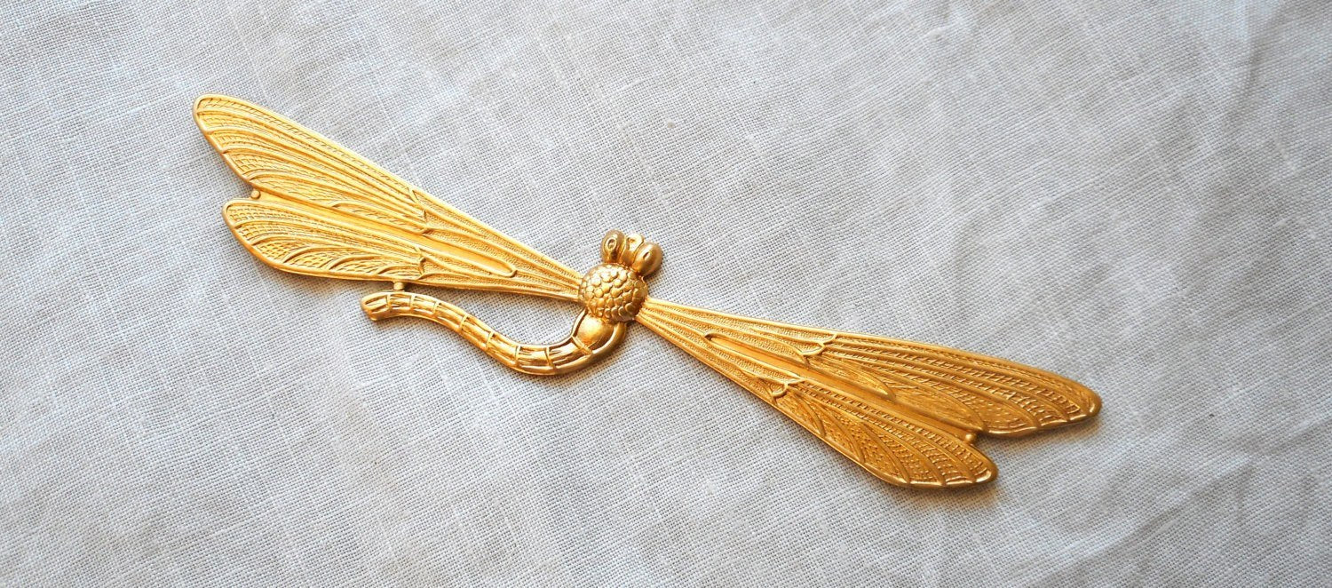 2 Dragonfly Raw Brass Stamping Ornament Art Deco Jewelry Findings.