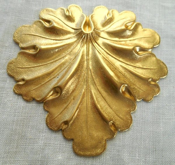 One large raw brass stamping, Art Nouveau, Victorian leaf pendant, charm, ornament 59mm x 59mm made in the USA, C7701