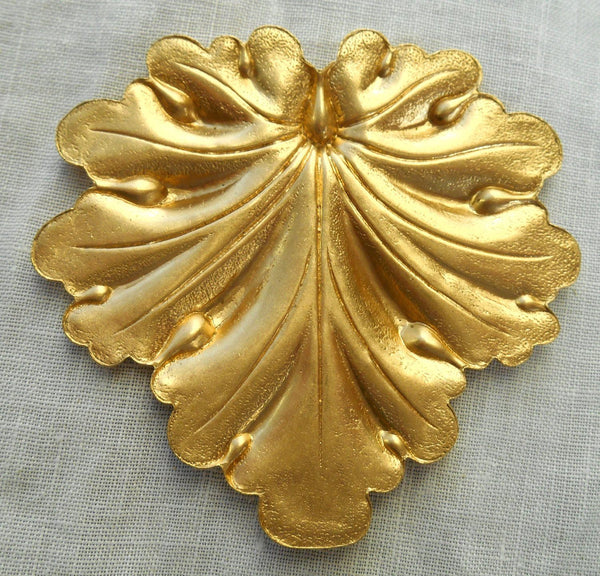Supplies - One Large Raw Brass Stamping, Art Nouveau, Victorian Leaf Pendant, Charm, Ornament 59mm X 59mm Made In The USA, C7701
