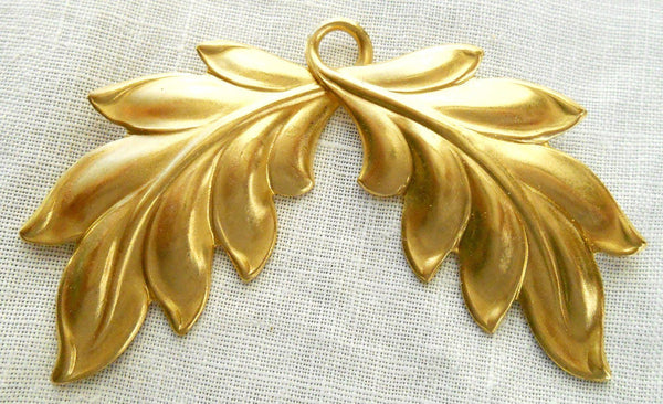 One large raw brass stamping Art Nouveau, Victorian leaves pendant, connector, charm 52mm x 44mm USA made, C4601 - Glorious Glass Beads