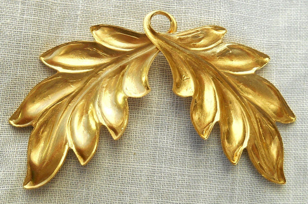 Supplies - One Large Raw Brass Stamping Art Nouveau, Victorian Leaves Pendant, Connector, Charm 52mm X 44mm USA Made, C4601