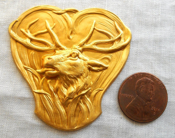 One large raw brass stamping deer,  antlers, Victorian, Arts & Crafts pendant, connector, 51mm USA made, C11101 - Glorious Glass Beads