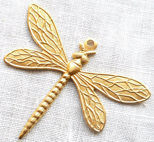 One medium brass stamping, art nouveau deco dragonfly, pendant, charm, 36mm x 30mm, made in the USA, C0701 - Glorious Glass Beads