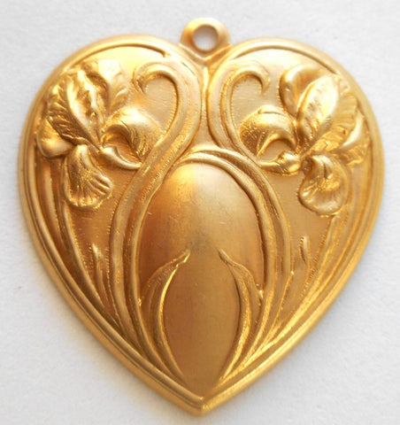 One ornate raw brass floral Iris heart pendant, charm, brass stamping, 30 x 32mm, made in the USA, C9201 - Glorious Glass Beads