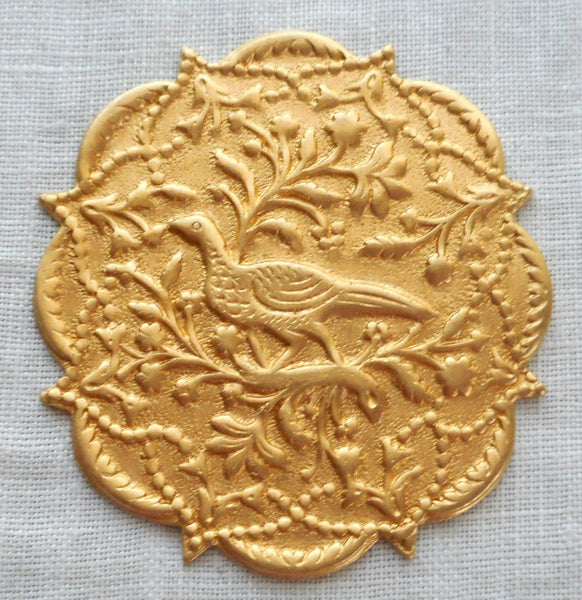 "One Ornate Victorian brass pheasant medallion, pendant, charm, brass stamping, 1.50"" in diameter, made in the USA, C6401"